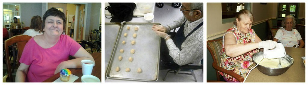 Senior Living residents baking cookies