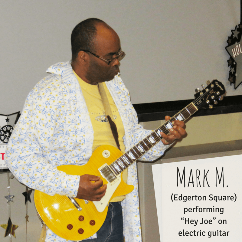 Mark M. from Edgerton Square performing Hey Joe on electric guitar