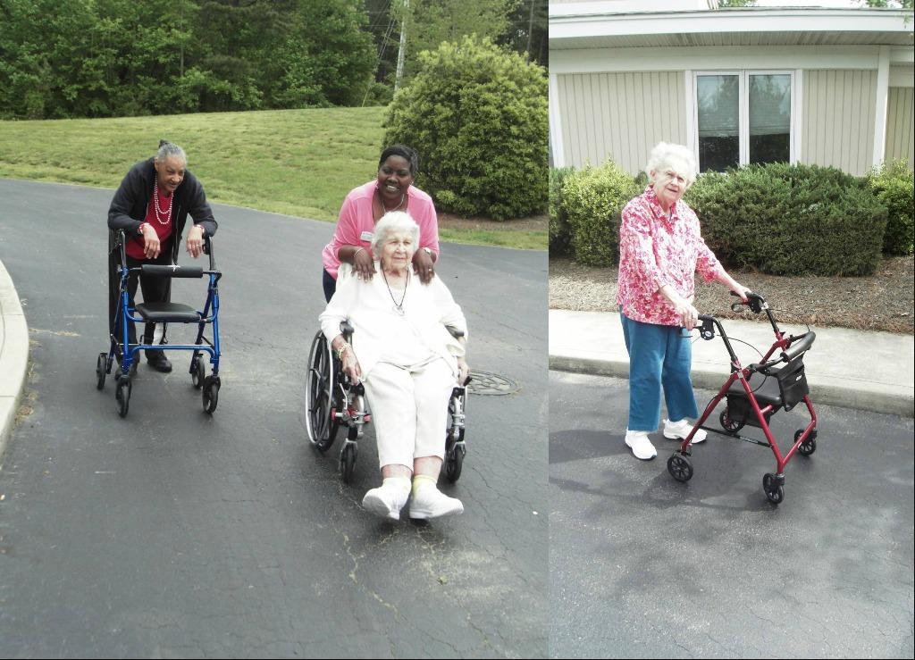 Woodridge residents enjoying a walk outside