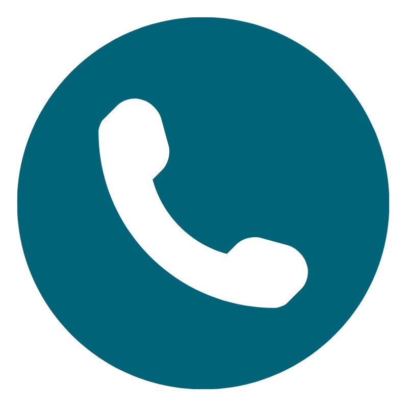 White phone on teal circle