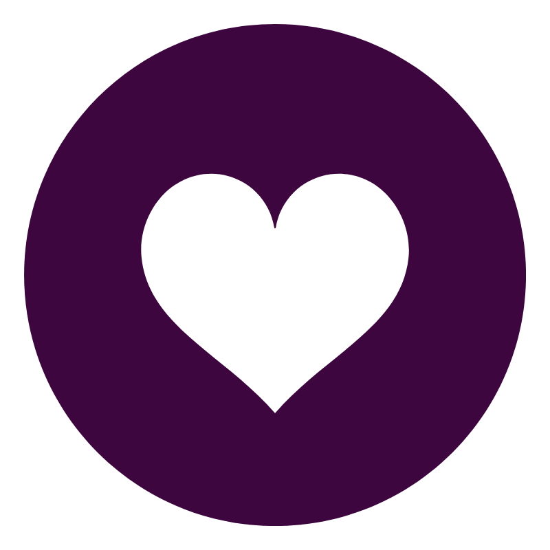 Purple circle with white heart