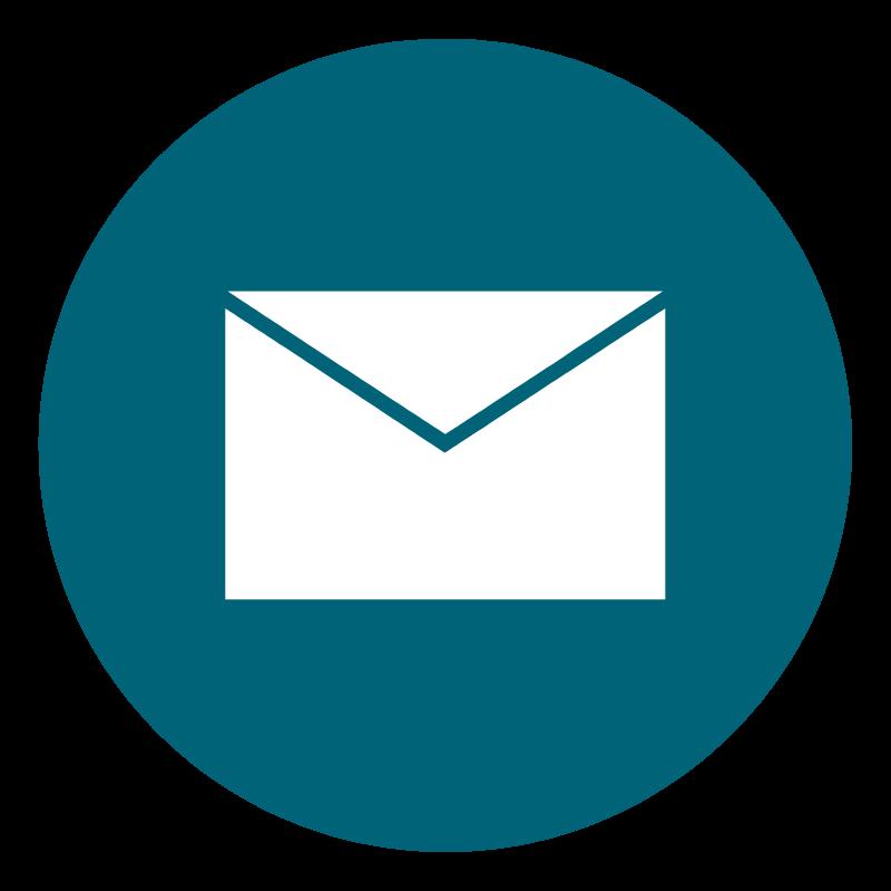White envelope on teal circle