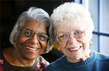 African American and Caucasian senior women