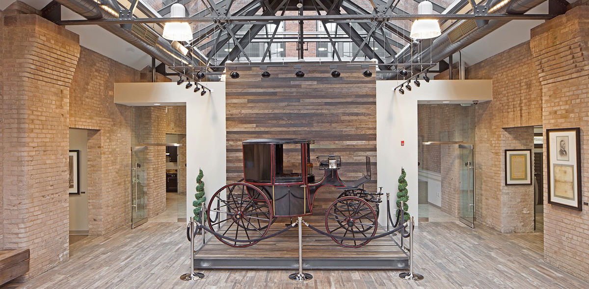 Carriage Factory Apartments Lobby with Cunningham Carriage
