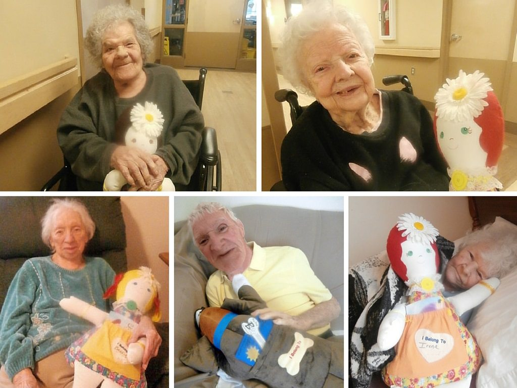 Twelve Oaks residents with Comfort Companions Collage