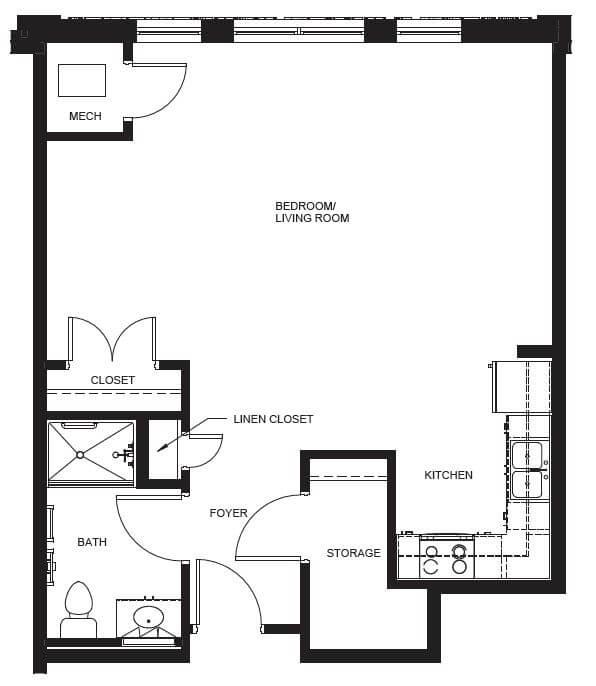 Joseph L. Allen Apartments Studio Floor Plan