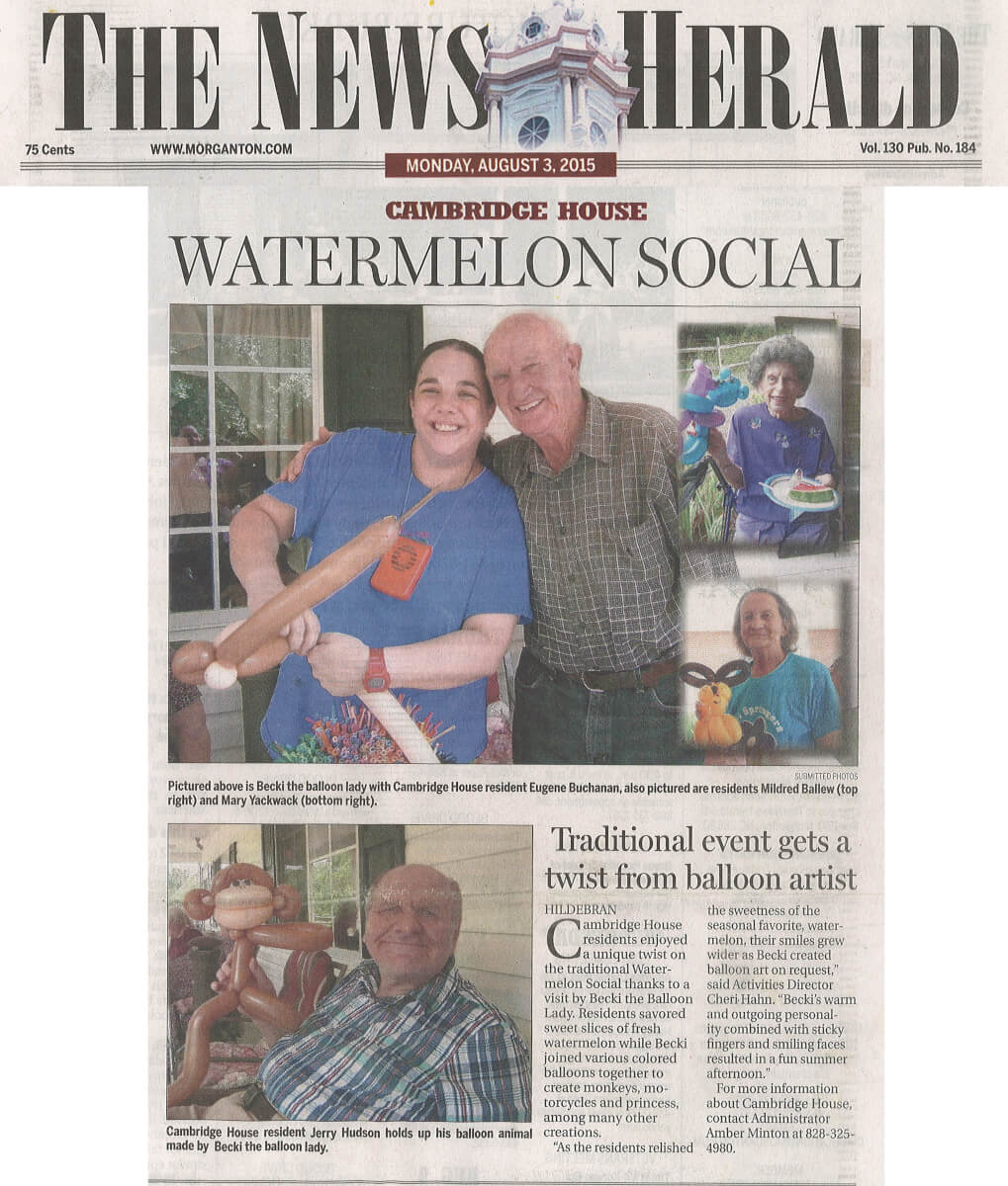 Cambridge House has a Watermelon Social story in the News Herald August 3, 2015
