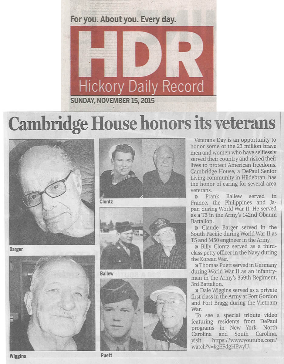 Cambridge House honors Veteran's Day article in the Hickory Daily Record November 15, 2015