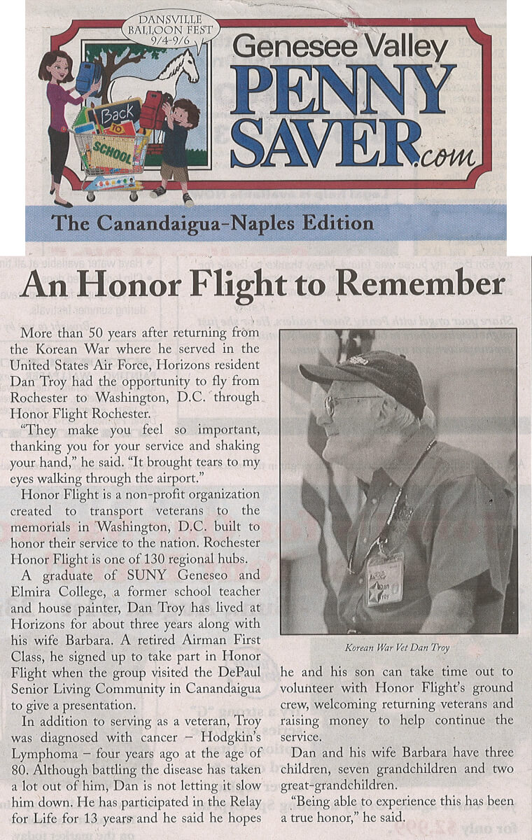 Horizons Honor Flight article in the Genesee Valley Penny Saver August 21, 2015.