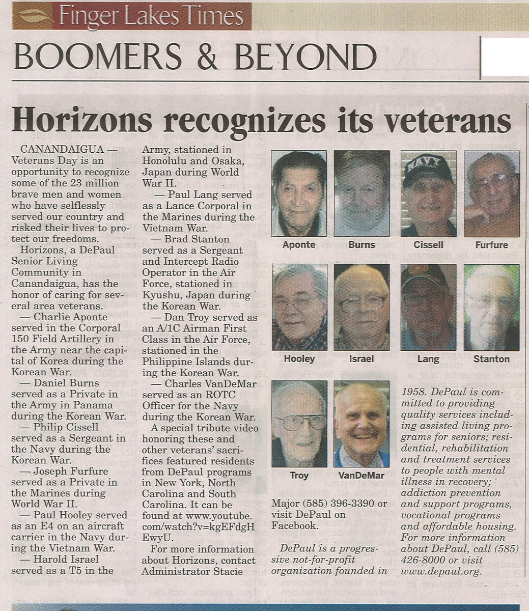 Horizons recognizes Veteran's Day in the Finger Lankes Times November 15, 2015