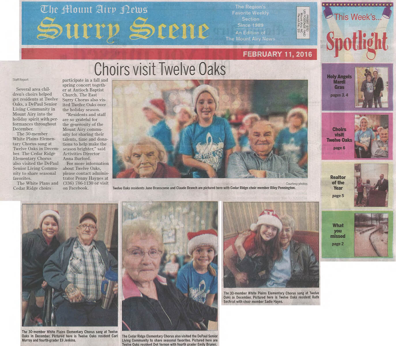 Twelve Oaks Receives Choir visit story in the Mount Airy New February 11, 2016