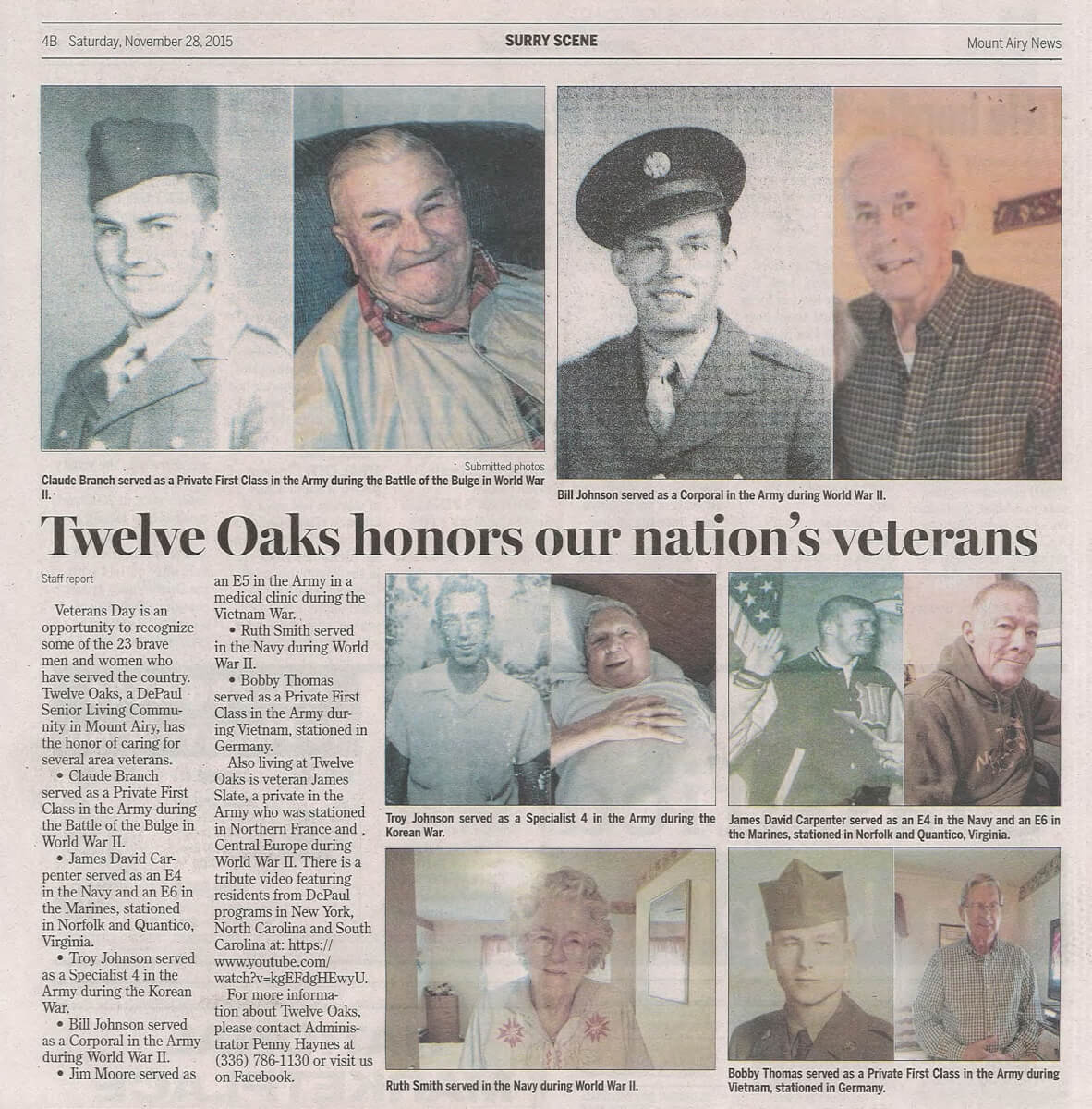 Twelve Oaks honors Veteran's Day article in the Surry Scene November 28, 2015
