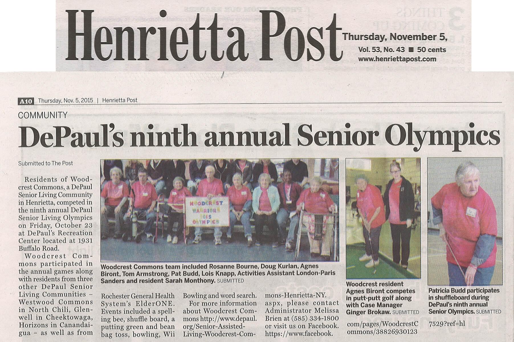 DePaul's Ninth Annual Senior Olympics article in the Henrietta Post November 5, 2015