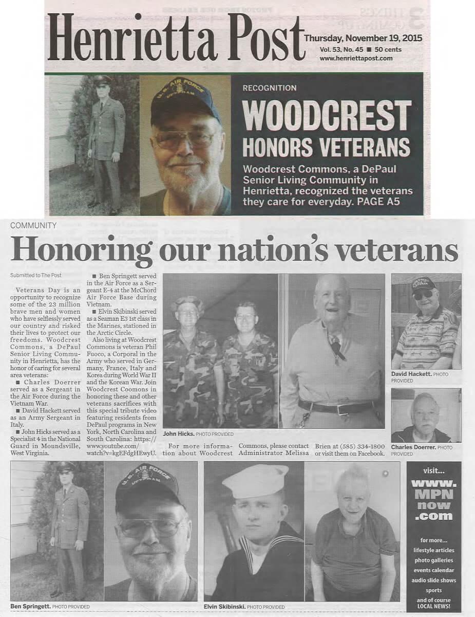 Woodcrest Commons honors Veteran's Day, November 19, 2015