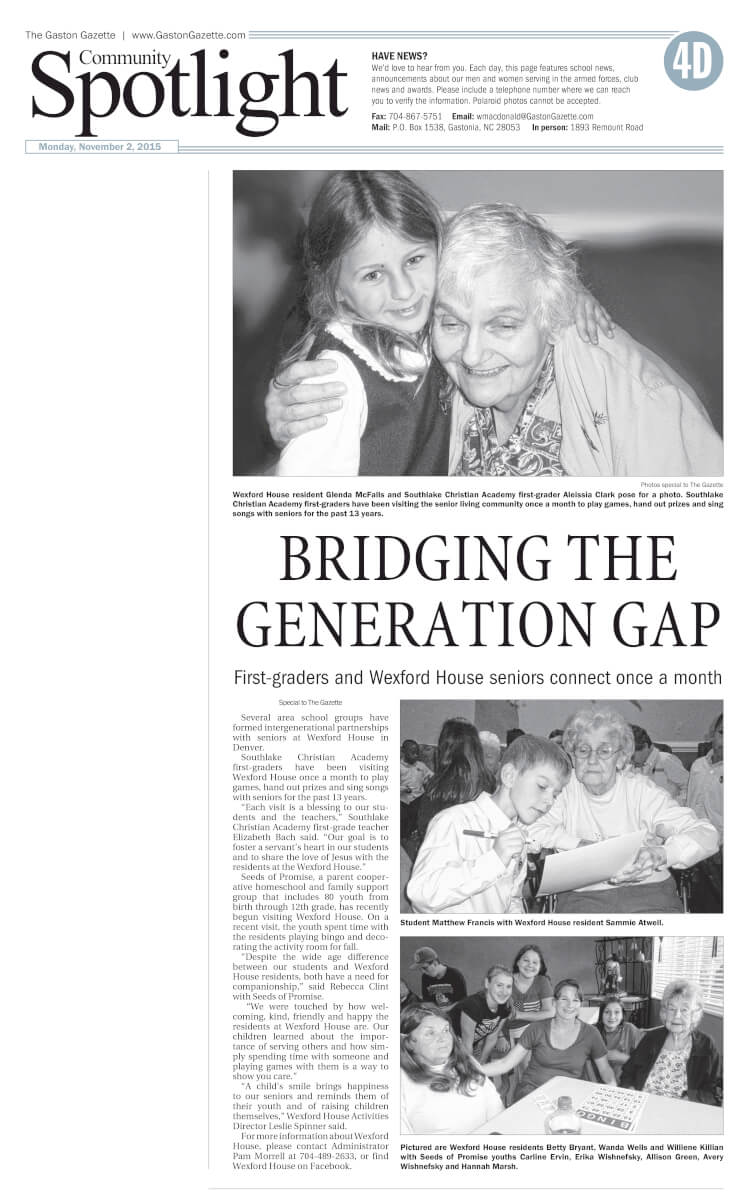 Wexford House Assisted Living Bridging the Generation Gap, article in the Gaston Gazette November 2015