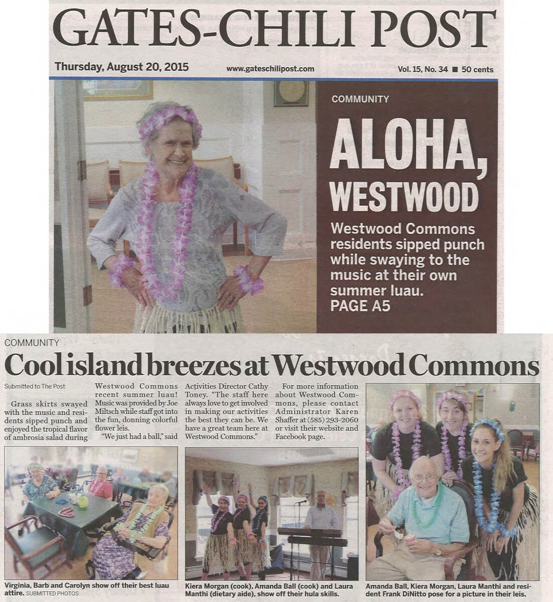 Westwood Commons Luau story in the Gates Chili Post August 20, 2015