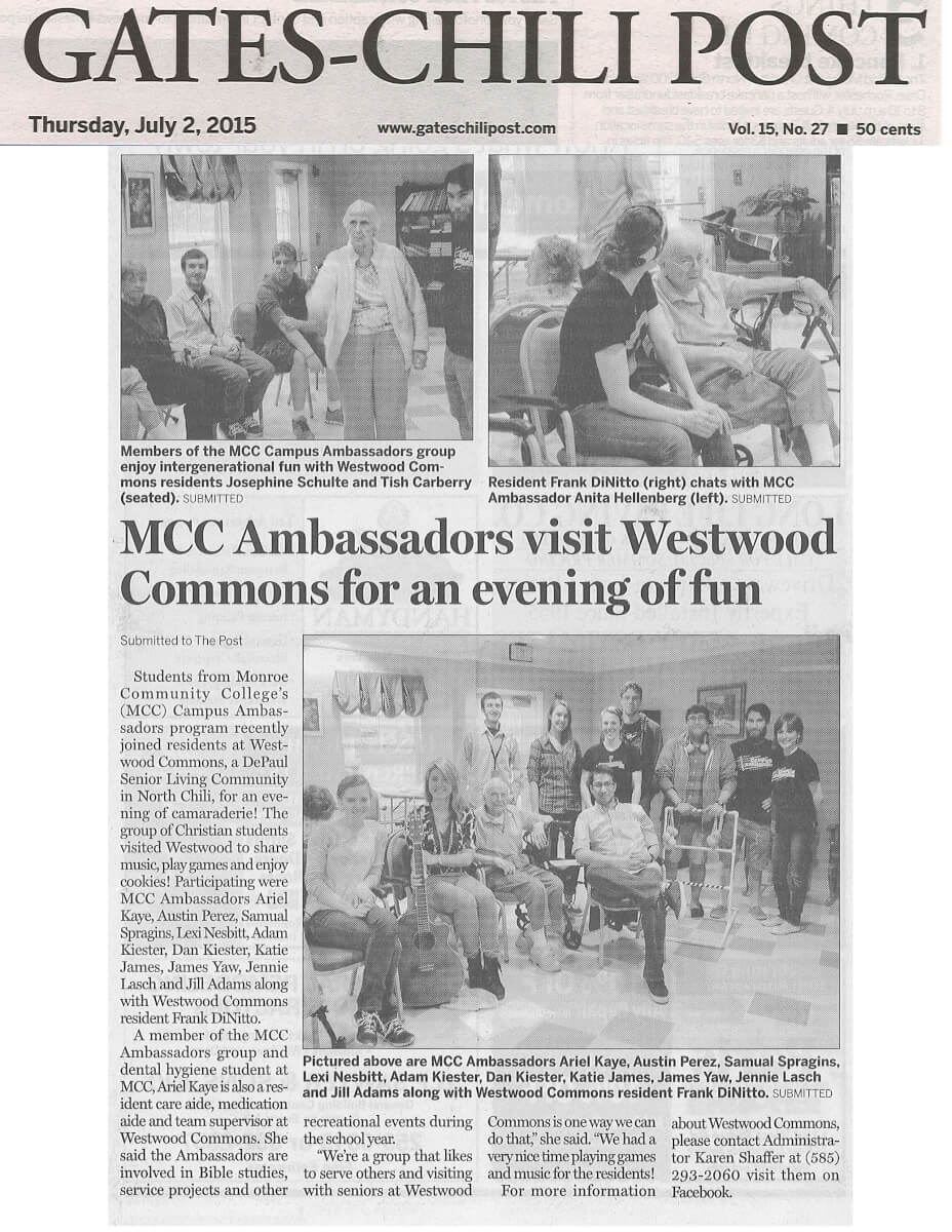 Westwood Commons gets a visit from MCC Ambassadors, story in the Gates-Chili Post July 2, 2015