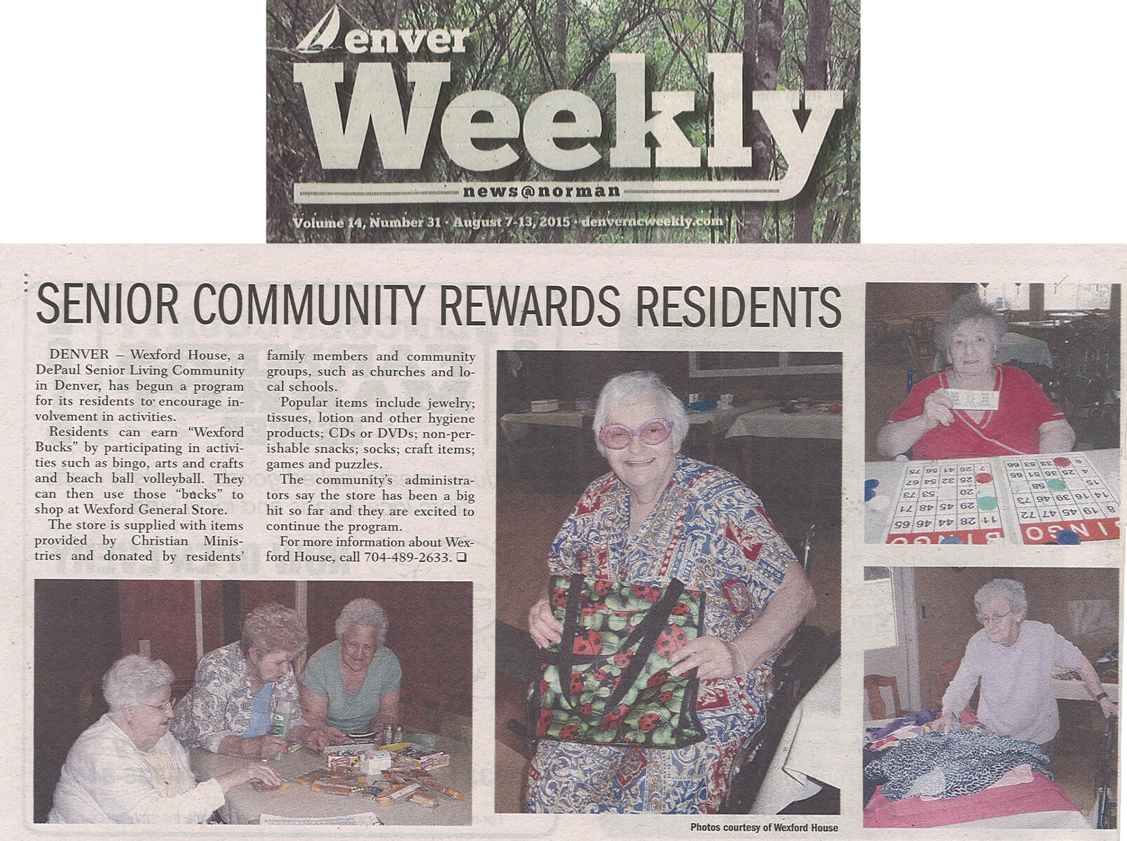 Wexford House Store story in the Denver Weekly September 7-13, 2015