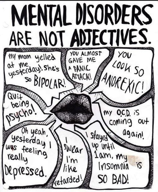 Mental Disorders are not adjectives graphics
