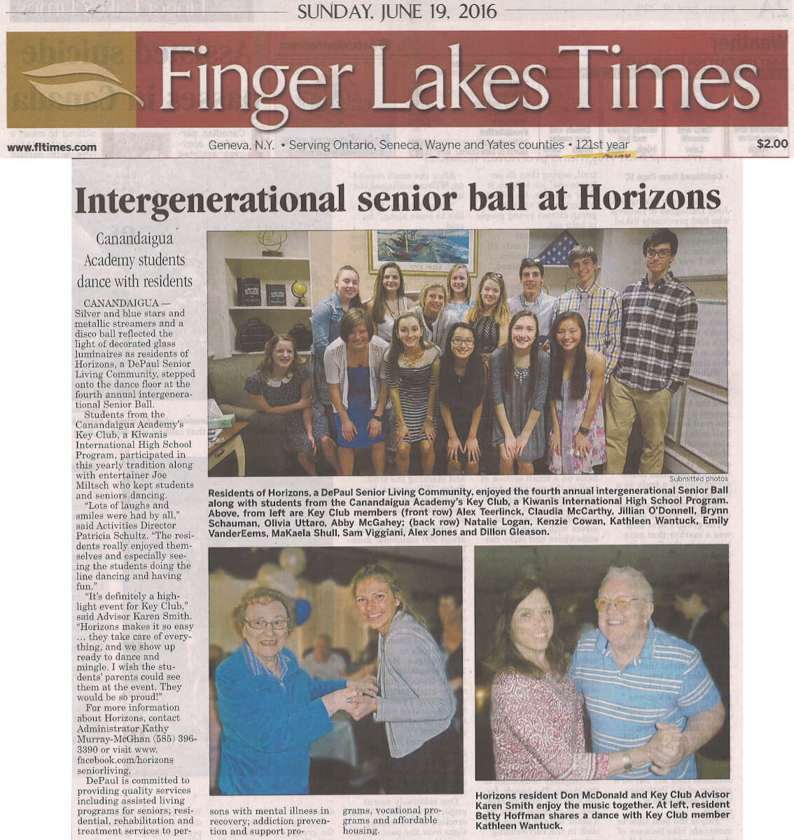Horizons Intergenerational Senior Ball June 16, 2016 story in the Finger Lakes Times