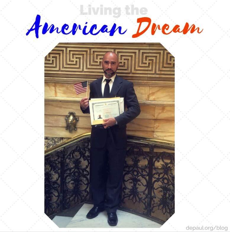 DePaul Maintenance Specialist Larry Perez being sworn in as an American Citizen