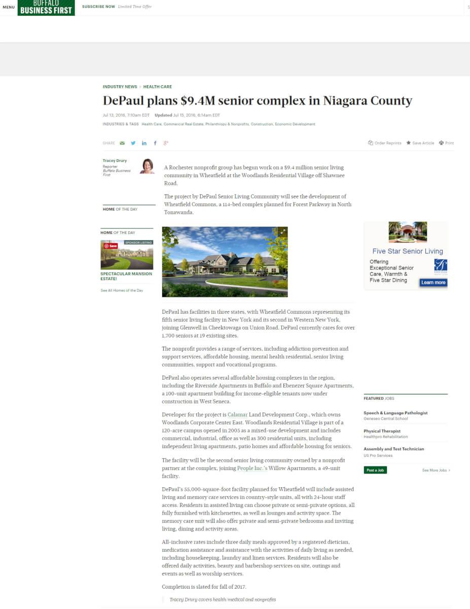 Depaul Plans 9 4m Senior Complex In Niagara County Buffalo