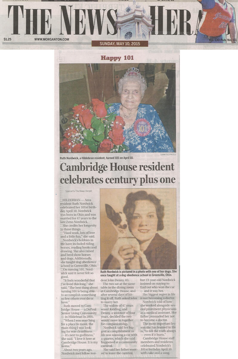 Cambridge House Assisted Living Resident Ruth Nordwick turns 101 story in the News Herald May 10, 2015