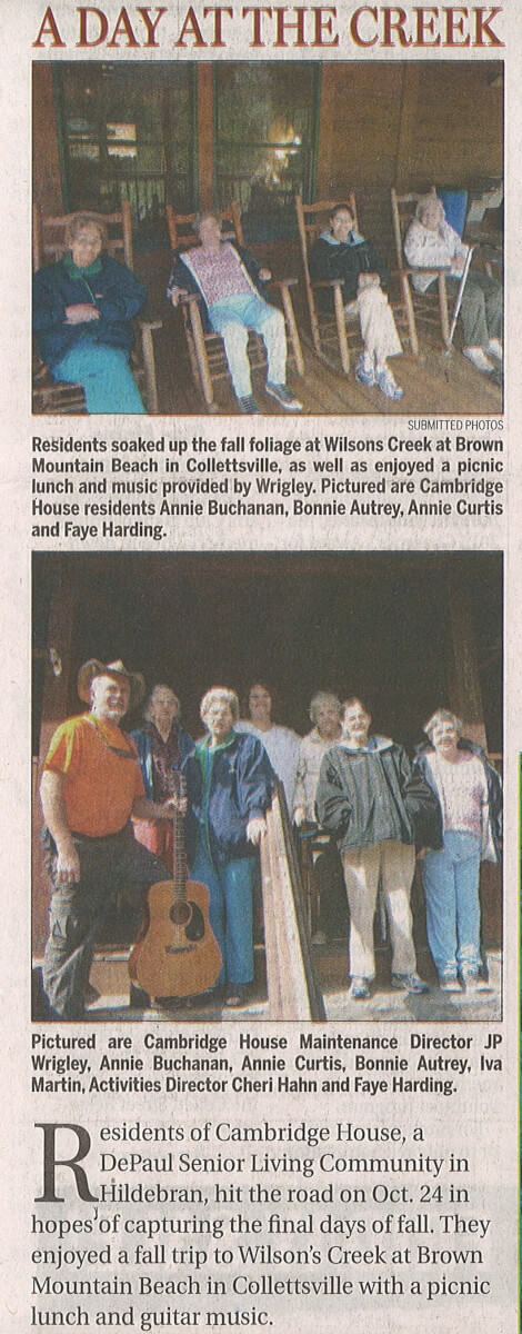 Cambridge House residents visit Wilson's Creek Article
