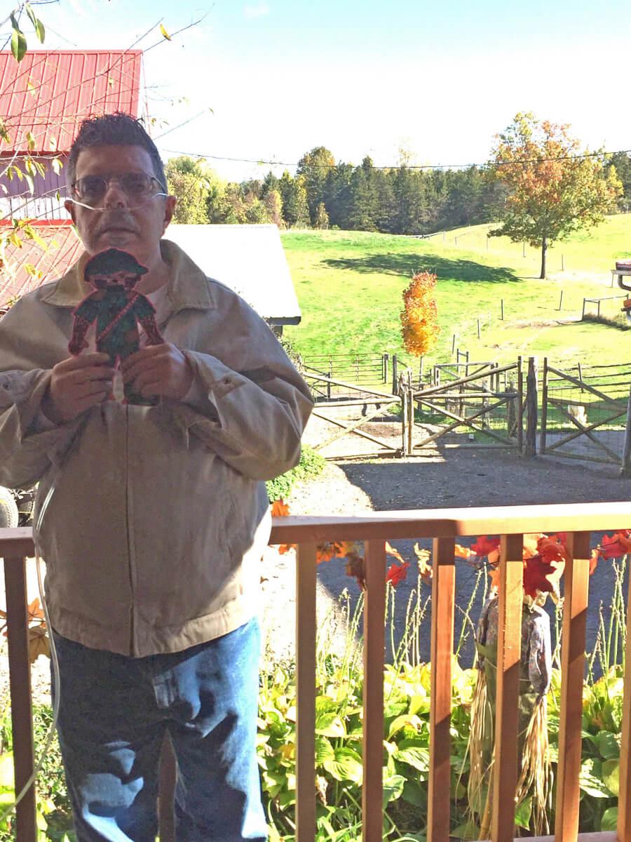 Resident Doug Kurlan holding flat stanley