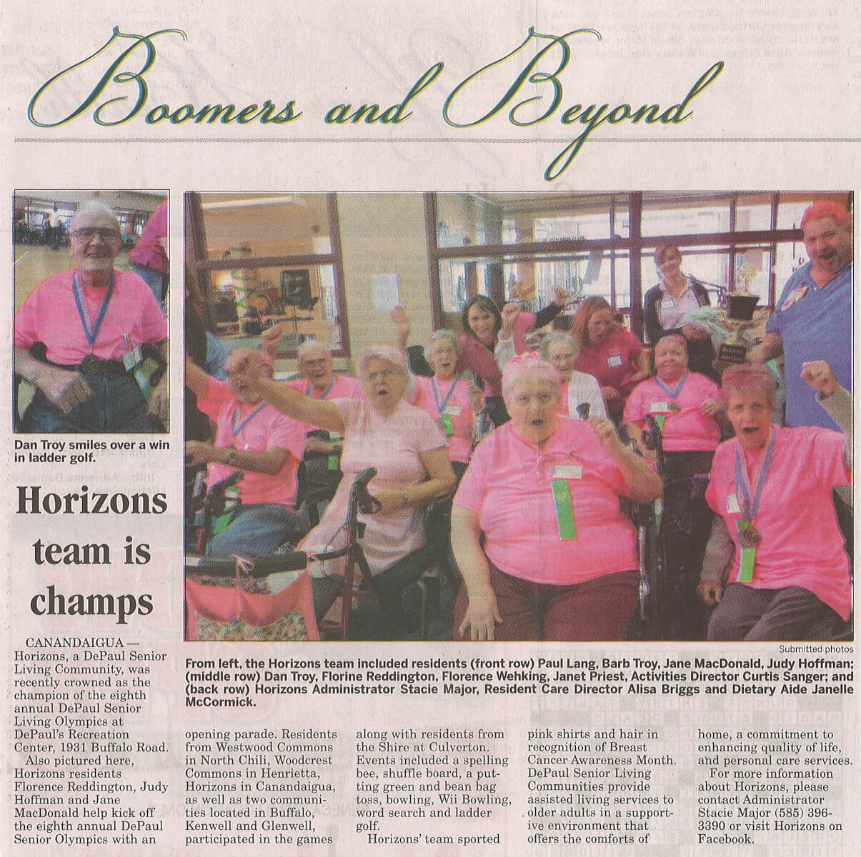 Horizons Win the Senior Olympics article in Boomers and Beyond, November 9, 2014