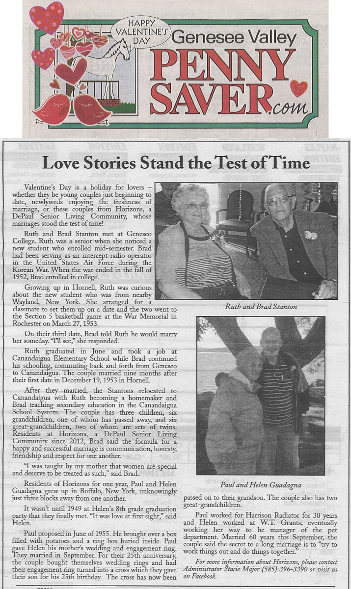 Horizons Valentine's Day Article in the Genesee Valley Penny Save February 13, 2015