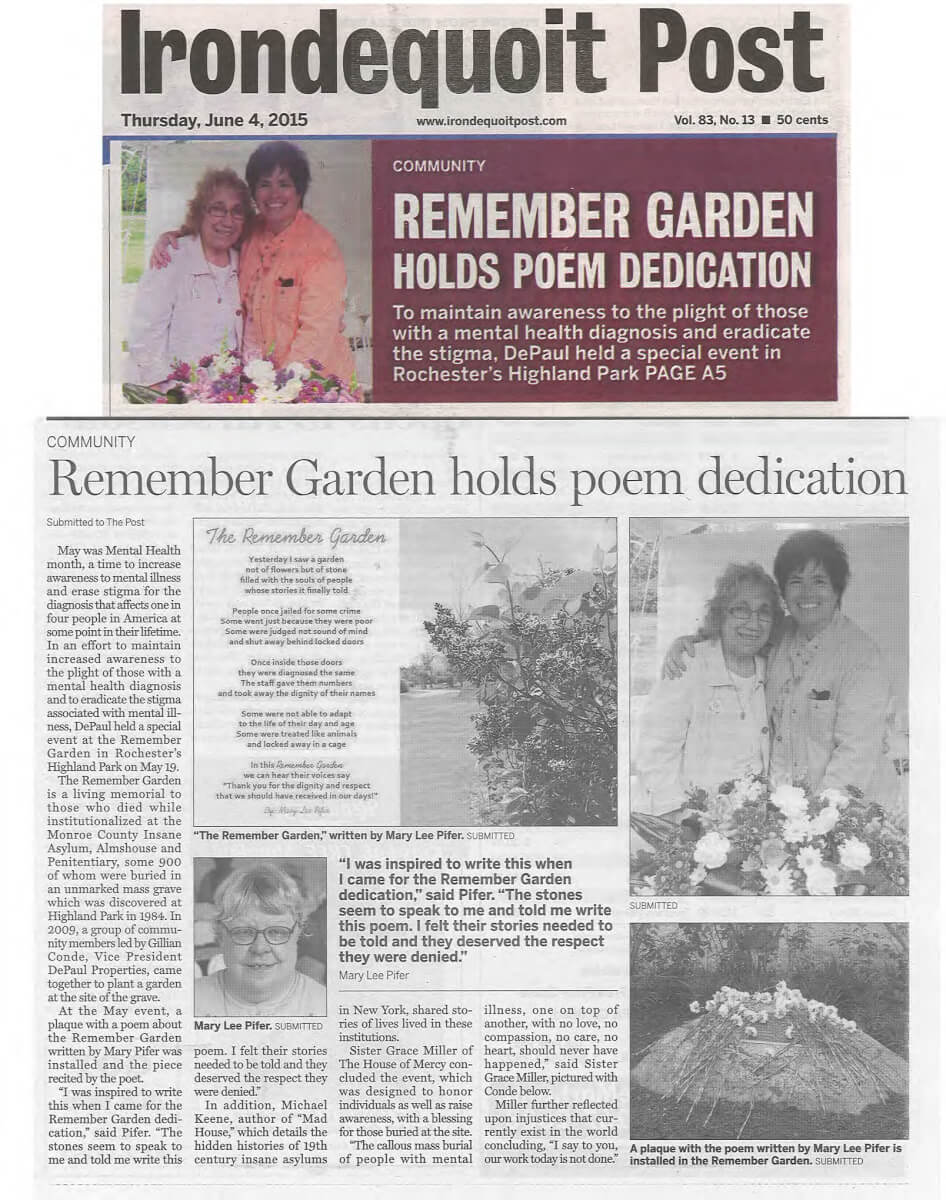 Remember Garden holds poem dedication article in the Irondequoit Post June 4, 2015