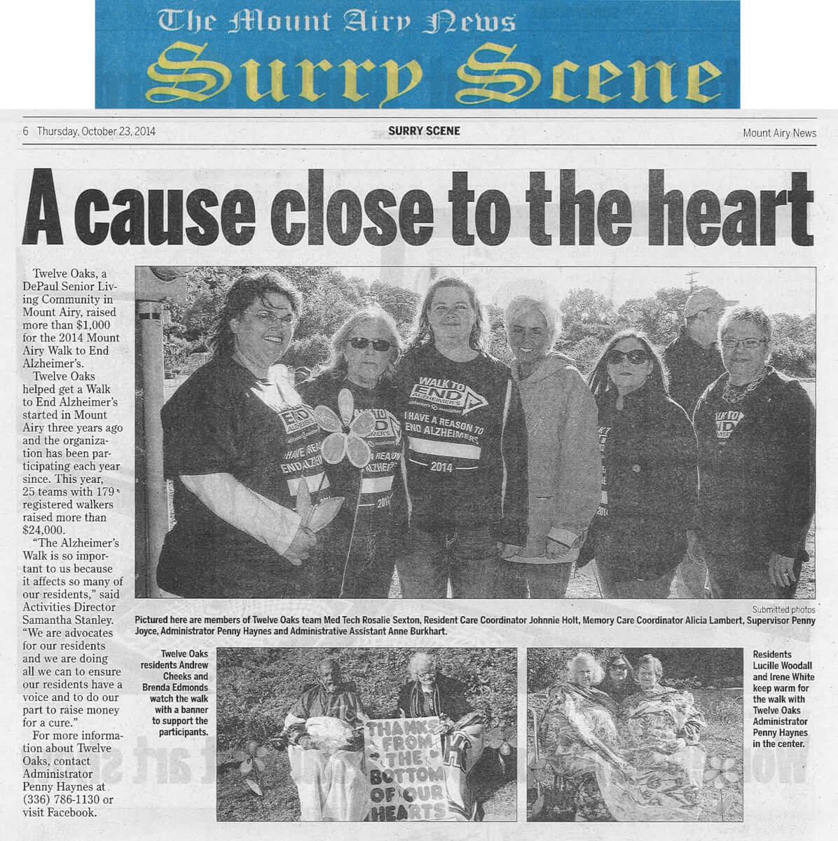Twelve Oaks Senior Living Raises money for Alzheimer's Walk article in the Mt. Airy News October 23, 2014