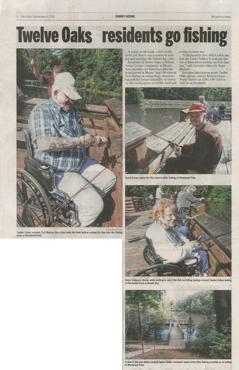 Twelve Oaks Assisted Living Residents Go Fishing Article in the Mount Airy News September 4, 2014