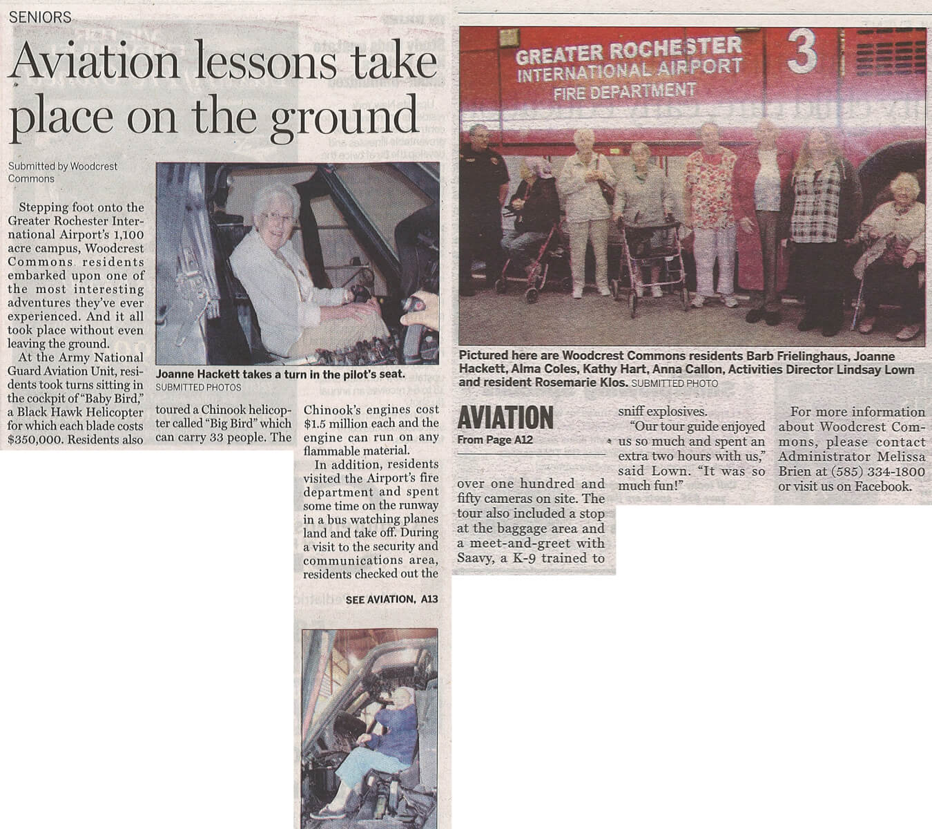 Woodcrest Commons, Airport Visit, Article in the Henrietta Post October 9, 2014