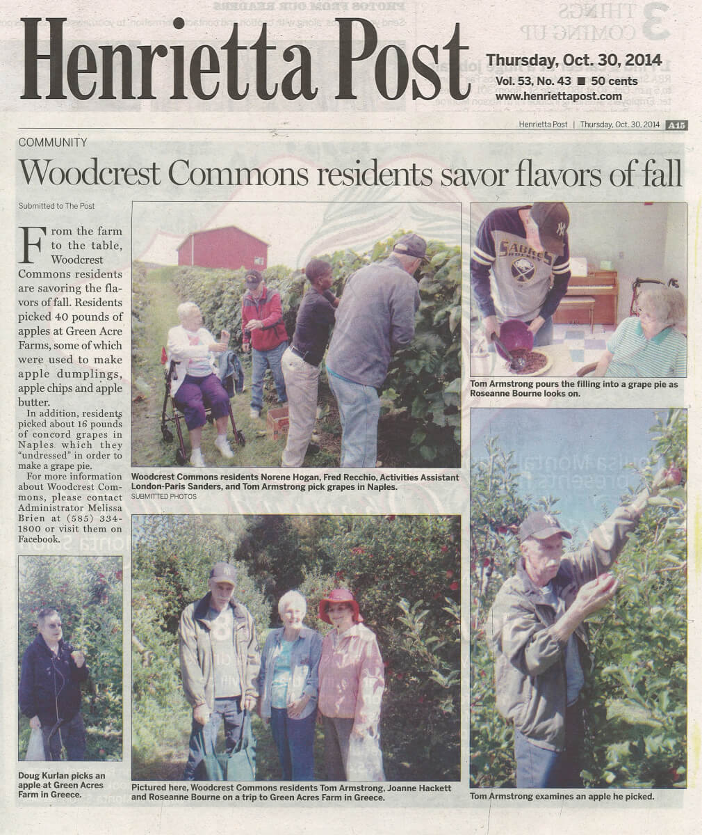 Woodcrest Commons' Residents Savor the Flavors of Fall article in the Gates Chili Post October 30, 2014