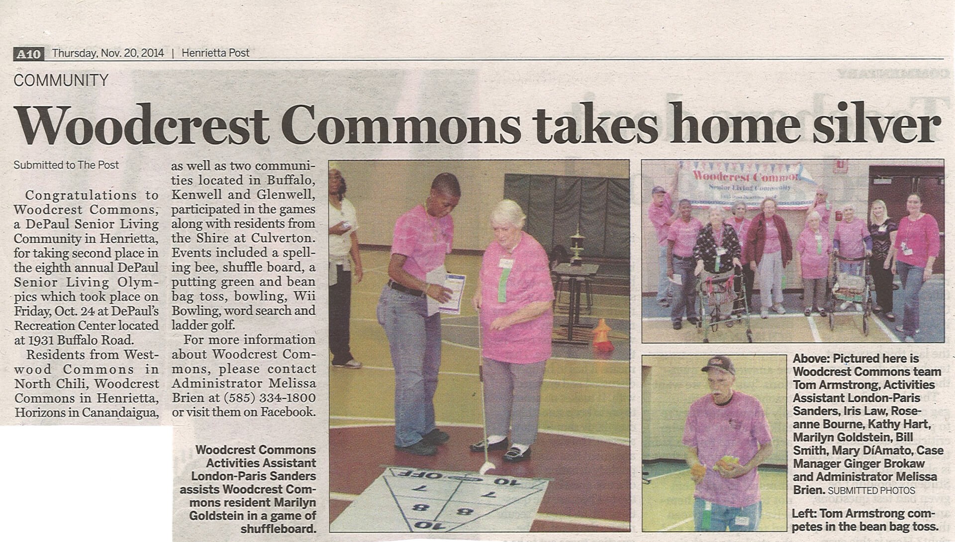 Woodcrest Commons Takes Silver in Senior Olympics article in the Henrietta Post November 20, 2014