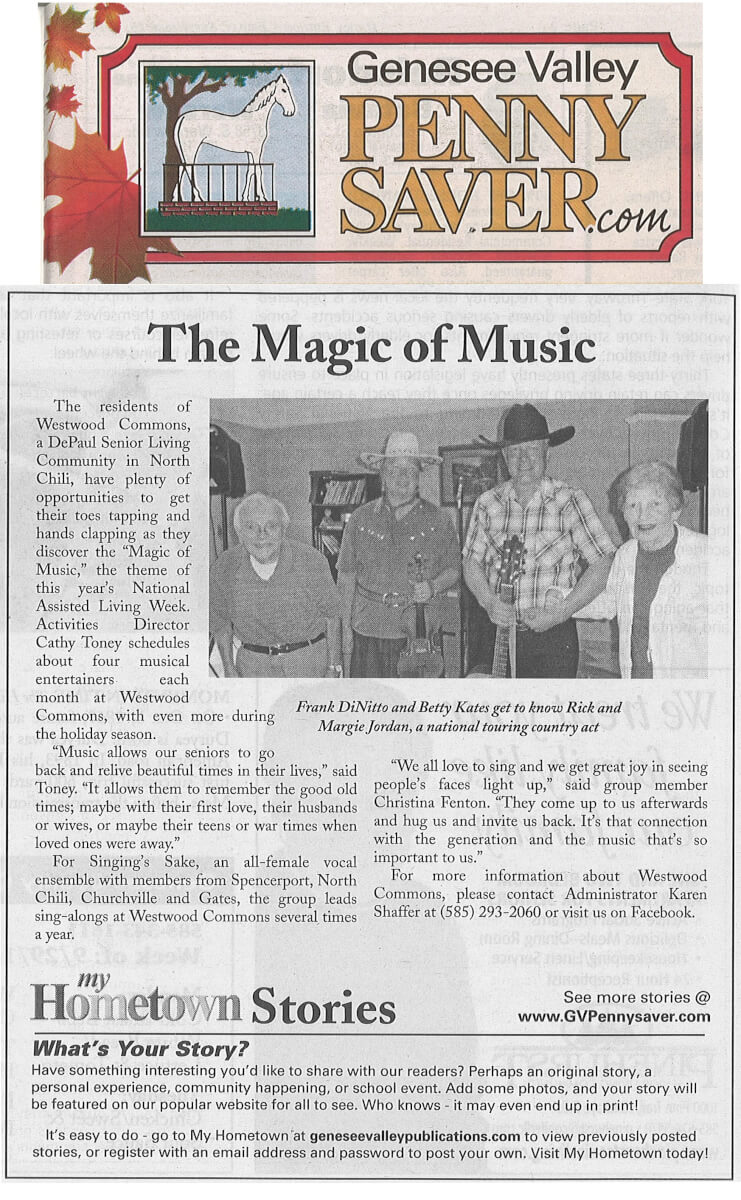 Westwood Commons Senior Living Magic of Music article in the Genesee Valley Penny Saver September 26, 2014