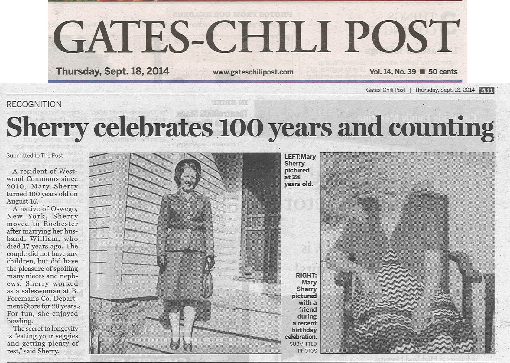 Westwood Commons' Resident Mary Sherry turns 100 story in the Gates Chili Post September 18, 2014