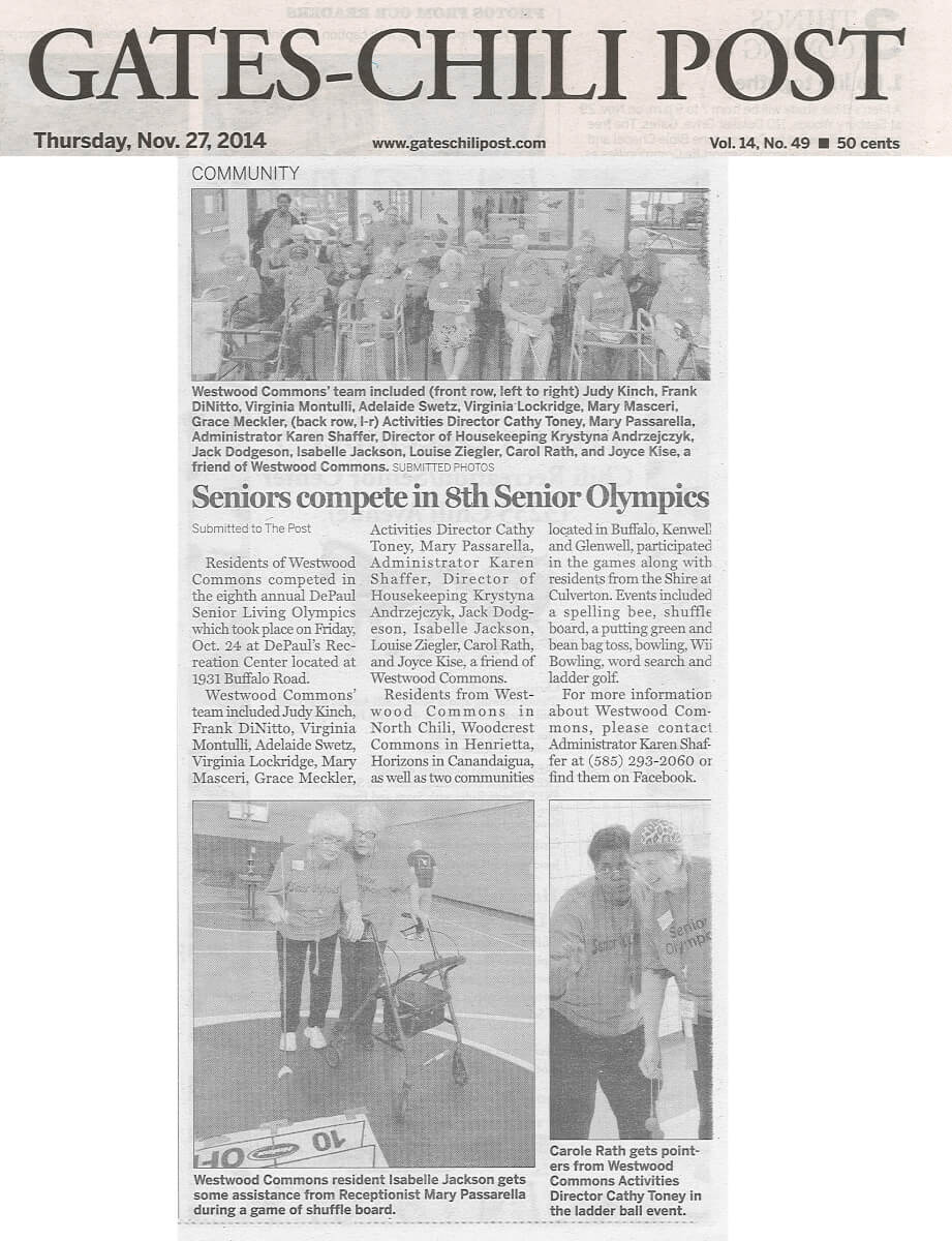 Westwood Commons compete in the Senior Olympics story in the Gates Chili Post November 27, 2014