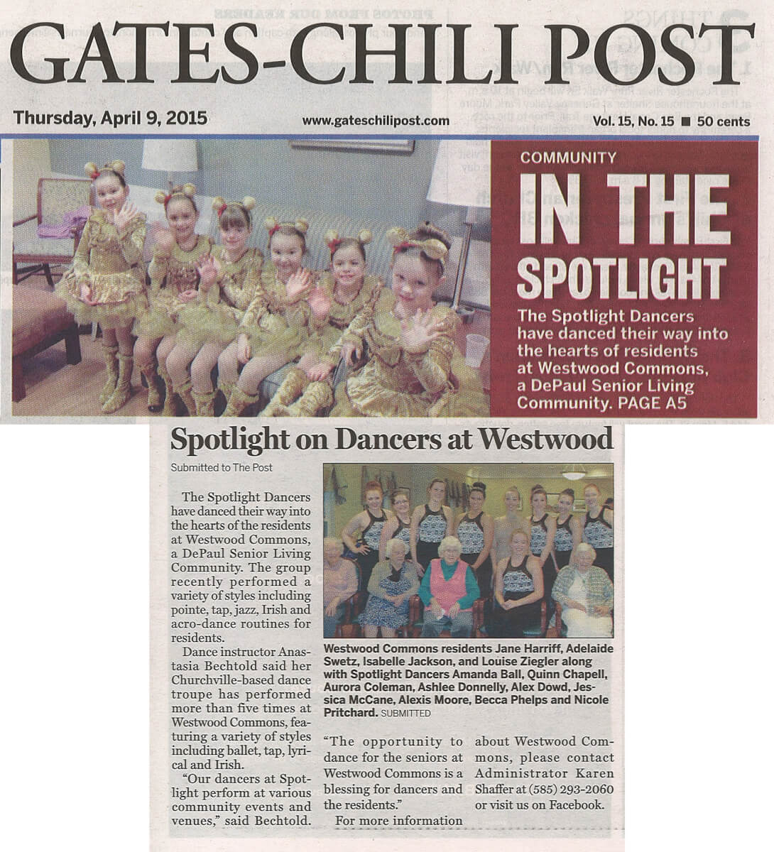 Westwood Commons get a visit from the Spotlight Dancers article in the Gates Chili Post on April 9, 2015