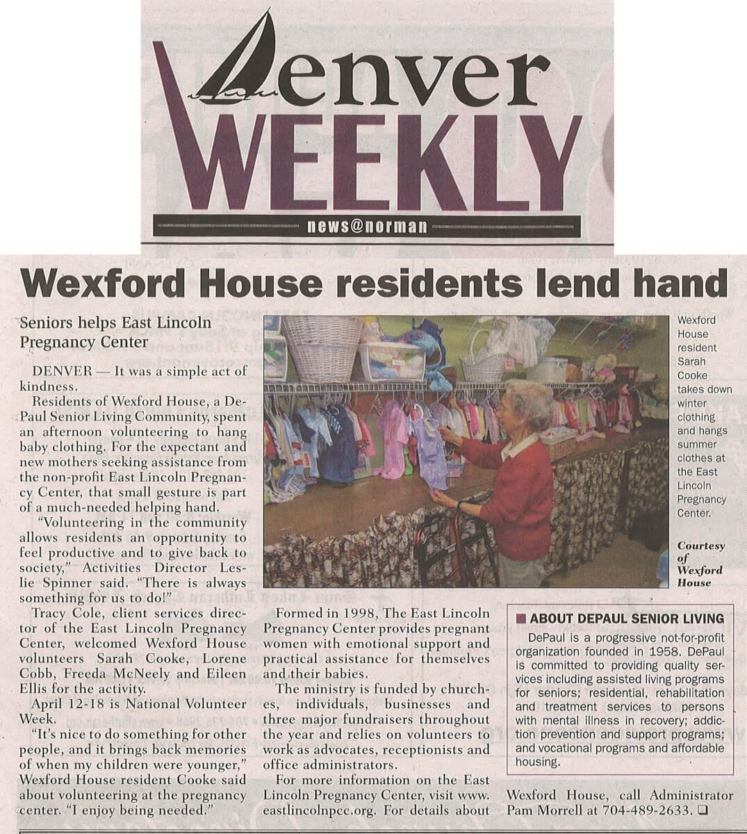 Wexford House Volunteers, article in the April 10-16 Denver Weekly