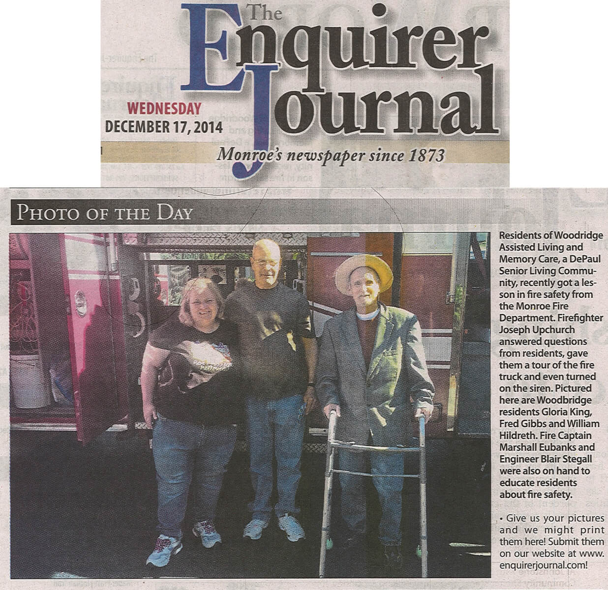 Woodridge Senior Living practices Fire Safety, article in the Enquirer Journal December 17, 2014