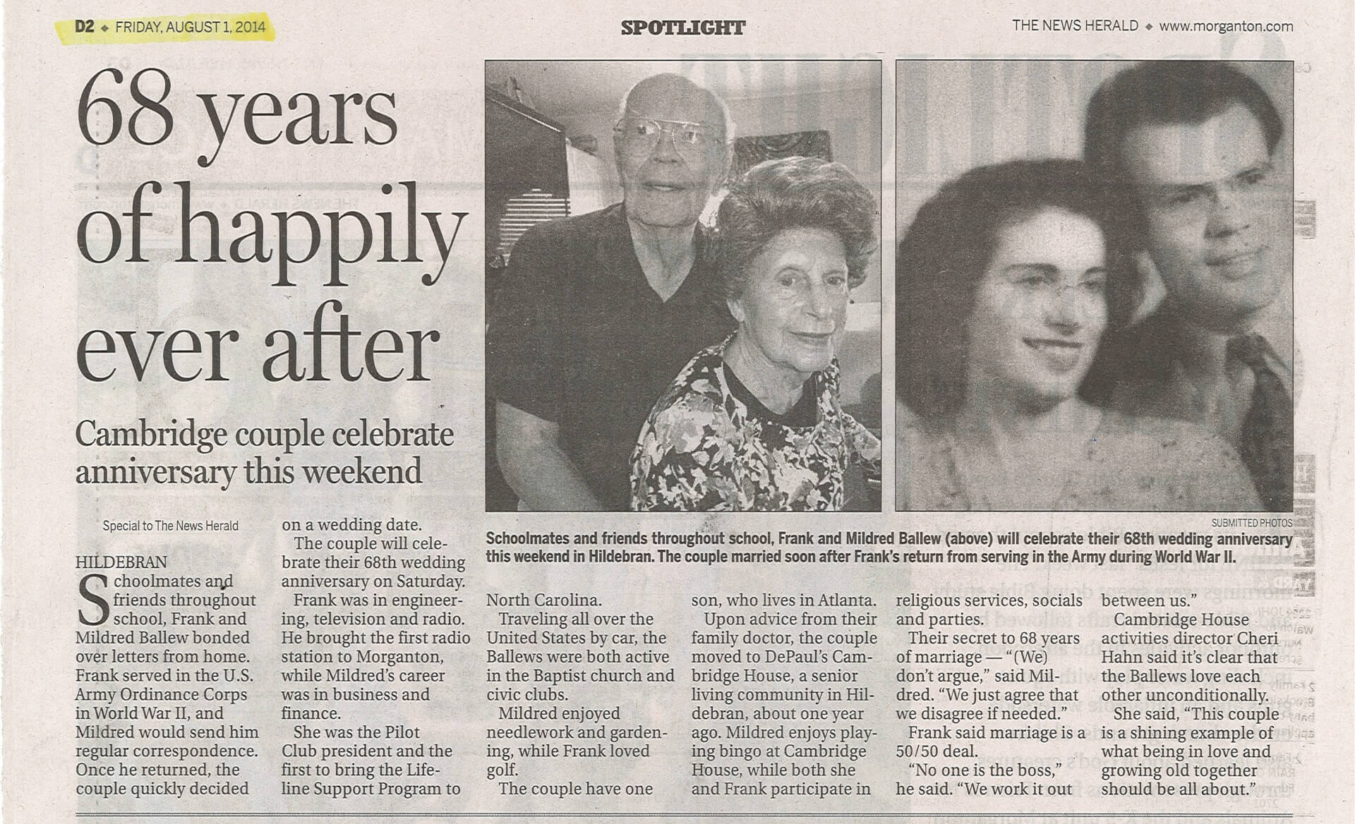 Cambridge House Senior Living Celebrates Frank and Mildred Ballew's 68th Anniversary, article in the News Herald August 1, 2014
