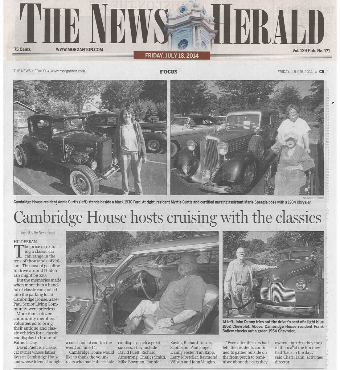 Cambridge House Senior Living Cruisin' with the Classics Article in the Morganton News Herald July 18, 2014