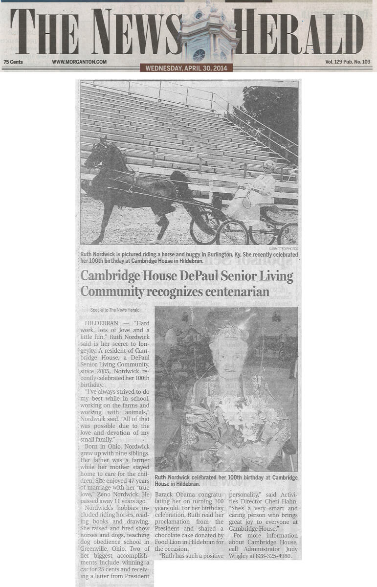 Cambridge House Assisted Living Resident Ruth Nordwick's 100th Birthday Article in the News Herald April 30, 2014