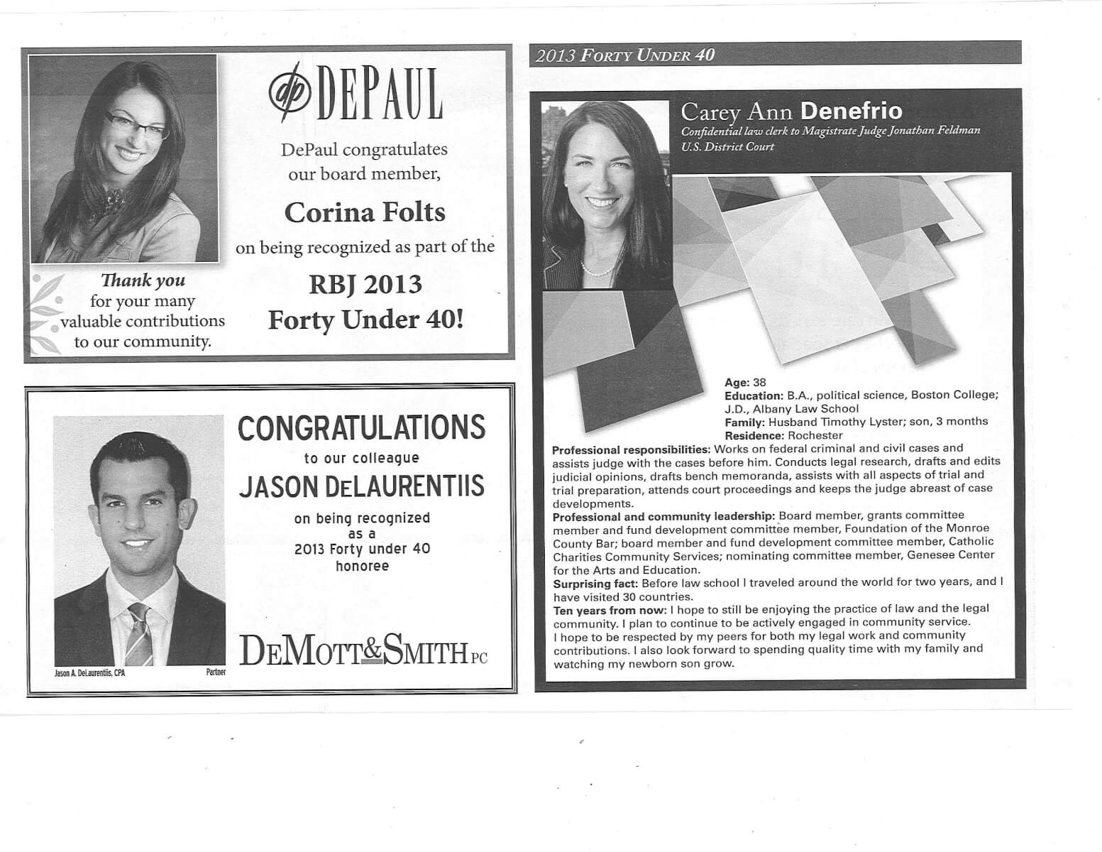Corina Folts Forty Under 40 in the RBJ November 15, 2013