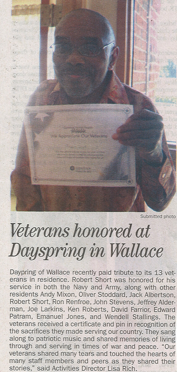 Dayspring of Wallace honors Veterans Day, story in the Duplin Times November 2013