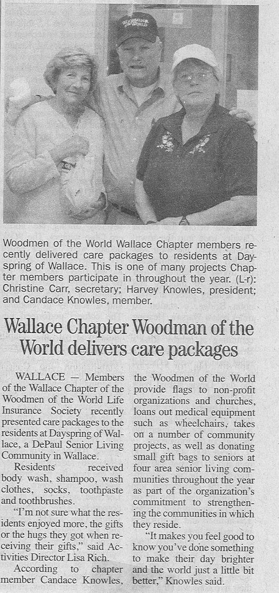 Dayspring of Wallace receive care packages from Woodsman of the World story in the Duplin Times November 2013