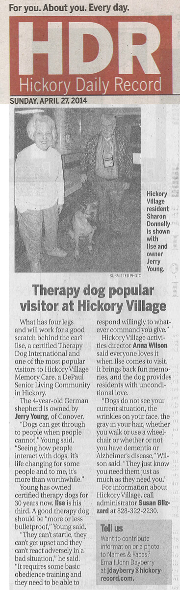 Hickory Village Memory Care Pet Therapy Article in the Hickory Daily Record April 27, 2014